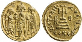 BYZANTINE EMPIRE: Heraclius, 610-641, AV solidus (4.47g), Constantinople, S-759, Three standing fibures (Heraclius, in center, together with his sons ...