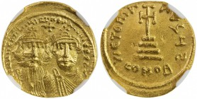 BYZANTINE EMPIRE: Heraclius, 610-641, AV solidus, Constantinople, S-734, busts of emperor & his son Heraclius Constantine // cross potent above 4 step...