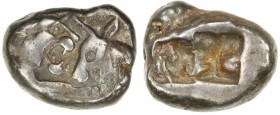 ACHAIMENIDIAN EMPIRE: Anonymous, ca. 546-510, AR siglos (5.38g), S-3424, lion facing bull // two punches, derived from the Kroisos series of Lydia, an...