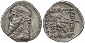 PARTHIAN KINGDOM: Mithradates II, 95-87 BC, AR drachm (4.01g), Shore-85 ff, bust left with long beard, diademed // king enthroned, holding bow, 5-line...