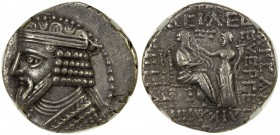 PARTHIAN KINGDOM: Gotarzes II, 44-51 AD, AR tetradrachm, Seleukeia, diademed and draped bust of Gotarzes II left // King seated right, receiving wreat...