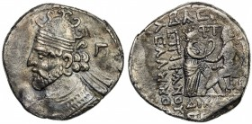 PARTHIAN KINGDOM: Vologases II, AD 77-80, BI tetradrachm (13.70g), Seleukeia, SE390 (78/79 AD), Shore-387, bust left, wearing tiara with hooks on top,...