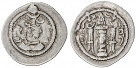 SASANIAN KINGDOM: Peroz, 457-484, AR drachm (3.88g), AY (Susa), year 7, G-169, silver drachms with a clear date are very rare for Peroz, pleasing VF, ...