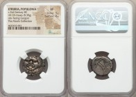 ETRURIA. Populonia. Ca. 3rd century BC. AR 20 asses (20mm, 8.39 gm). NGC VF 3/5 - 4/5. Head of Metus facing as Gorgoneion, tongue protruding; X X (mar...