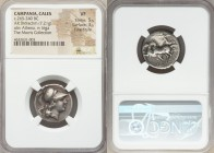 CAMPANIA. Cales. Ca. 265-240 BC. AR didrachm (22mm, 7.21 gm, 5h). NGC VF 5/5 - 3/5, Fine Style. Head of Athena right, wearing crested Apulo-Corinthian...