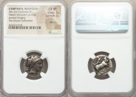 CAMPANIA. Neapolis. 4th-3rd centuries BC. AR/AE didrachm or stater fourree (19mm, 6.95 gm, 11h). NGC Choice VF 5/5 - 2/5, test cut. Ancient forgery. H...