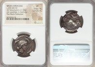 SICILY. Syracuse. Second Democracy (ca. 466-405 BC). AR tetradrachm (25mm, 17.20 gm, 8h). NGC VF 4/5 - 4/5. Ca. 450-440 BC. Charioteer driving quadrig...