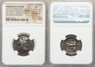 THESSALY. Thessalian League. 2nd-1st centuries BC. AR double victoriatus or stater (22mm, 5.98 gm, 3h). NGC VF 4/5 - 5/5, Fine Style. Poli-, magistrat...
