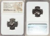 ACARNANIA. Leucas. Ca. 375-350 BC. AR stater (20mm, 8.34 gm, 9h). NGC VF 5/5 - 4/5, lt. graffito. Pegasus flying left; Λ below / Head of Athena left, ...