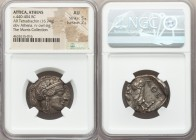 ATTICA. Athens. Ca. 440-404 BC. AR tetradrachm (25mm, 16.74 gm, 11h). NGC AU 5/5 - 2/5. Mid-mass coinage issue. Head of Athena right, wearing crested ...