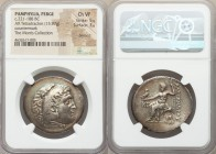PAMPHYLIA. Perga. Ca. 221-188 BC. AR tetradrachm (33mm, 15.97 gm, 12h). NGC Choice VF 5/5 - 3/5, brushed, countermark. Late posthumous issue in the na...