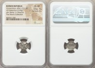 Anonymous (ca. 211-208 BC). AR sestertius (13mm, 0.99 gm, 12h). NGC Choice VF 4/5 - 4/5. Rome. Head of Roma right, wearing winged and crested helmet, ...