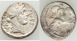 A. Licinius Nerva (47 BC). AR denarius (17mm, 3.53 gm, 10h). About XF, roughness. Rome. NERVA behind, FIDES before, laureate head of Fides right / A L...