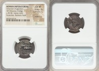 Octavian, as Sole Imperator (31-27 BC). AR denarius (19mm, 3.64 gm, 5h). NGC Choice VF 4/5 - 1/5, smoothing, scratches, bankers mark. Rome or Italian ...