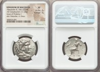 MACEDONIAN KINGDOM. Alexander III the Great (336-323 BC). AR tetradrachm (26mm, 17.28 gm, 12h). NGC XF 4/5 - 3/5. Late lifetime or early posthumous is...