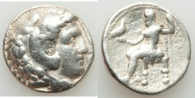MACEDONIAN KINGDOM. Alexander III the Great (336-323 BC). AR tetradrachm (26mm, 16.99 gm, 3h). Fine, graffito. Posthumous issue of 'Babylon', under Se...