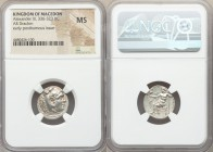 MACEDONIAN KINGDOM. Alexander III the Great (336-323 BC). AR drachm (18mm, 12h). NGC MS. Posthumous issue of uncertain mint in Greece or Macedonia, ca...