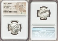 ATTICA. Athens. Ca. 455-440 BC. AR tetradrachm (24mm, 17.21 gm, 7h). NGC AU 5/5 - 4/5. Early transitional issue. Head of Athena right, wearing crested...
