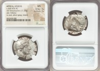 ATTICA. Athens. Ca. 440-404 BC. AR tetradrachm (28mm, 17.20 gm, 3h). NGC MS 3/5 - 3/5. Mid-mass coinage issue. Head of Athena right, wearing crested A...