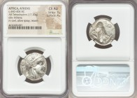 ATTICA. Athens. Ca. 440-404 BC. AR tetradrachm (24mm, 17.20 gm, 4h). NGC Choice AU 3/5 - 4/5. Mid-mass coinage issue. Head of Athena right, wearing cr...