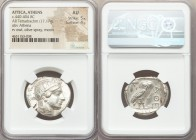 ATTICA. Athens. Ca. 440-404 BC. AR tetradrachm (26mm, 17.17 gm, 12h). NGC AU 5/5 - 4/5. Mid-mass coinage issue. Head of Athena right, wearing crested ...