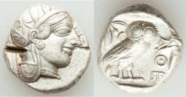 ATTICA. Athens. Ca. 440-404 BC. AR tetradrachm (25mm, 17.14 gm, 1h). XF, test cut. Mid-mass coinage issue. Head of Athena right, wearing crested Attic...