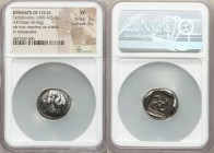 LYCIAN DYNASTS. Teththiveibi (ca. 460-425 BC). AR stater (19mm, 8.45 gm). NGC XF 3/5 - 4/5. Two cocks facing one another on a round shield; KI monogra...