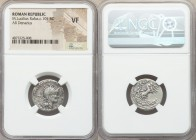 M. Lucilius Rufus (ca. 101 BC). AR denarius (19mm, 11h). NGC VF. Rome. Head of Roma right, wearing winged helmet decorated with griffin crest; PV in l...