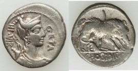 C. Hosidius C.f. Geta (ca. 68 or 64 BC). AR denarius (18mm, 3.76 gm, 6h). About VF. Rome. GETA-III•VIR, draped bust of Diana right, seen from front, w...