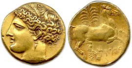 ZEUGITANA - CARTHAGE vers 260 B.C Tristatere in Electrum