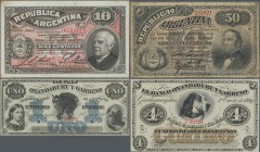 Argentina: Very interesting lot with 4 banknotes of the early issues and local banks of Argentina comprising 50 Pesos Republica Argentina 1884 P.8 (F-...