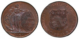 Dorsetshire, Poole copper 1/2 Penny Token 1795 MS64 Brown PCGS, D&H-6. Edge: I PROMISE TO PAY ON DEMAND ONE HALFPENNY. Hope leaning on an anchor and a...