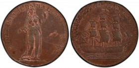 Durham, South Shields copper 1/2 Penny Token 1794 MS63 Brown PCGS, D&H-4. 9.43gm. Edge: PAYABLE AT SOUTH SHIELDS AND LONDON . X X . Figure of Faith st...