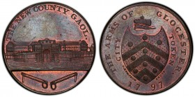 Gloucestershire, Gloucester copper Penny Token 1797 MS63 Brown PCGS, D&H-10. Shield of arms, CITY TOKEN and P. KEMPSON FECIT either side, arms of GLOU...