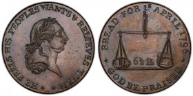 Gloucestershire, Badminton copper 1/2 Penny Token 1796 MS63 Brown PCGS, D&H-30. Bust of George III right / Pair of scales, 6 1/2lb. Scarce variety (sc...
