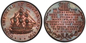 Gloucestershire, Badminton copper 1/2 Penny Token 1796 MS64 Brown PCGS, D&H 32. CORN IMPORTED BY GOVERNMENT 1796. Ship / TO THE ILLUSTRIOUS DUKE OF BE...