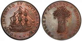 Gloucestershire, Badminton copper 1/2 Penny Token 1796 MS65+ Brown PCGS, D&H-34. CORN IMPORTED BY GOVERNMENT 1796. Ship / RELIEF* AGAINST* MONOPOLY* *...