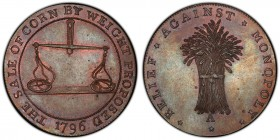 Gloucestershire, Badminton copper 1/2 Penny Token 1796 MS65 Brown PCGS, D&H-46. Edge: Plain. RELIEF AGAINST MONOPOLY. Wheatsheaf / THE SALE OF CORN BY...