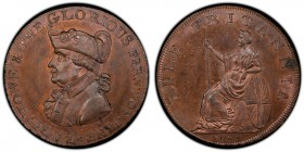 Hampshire, Emsworth copper 1/2 Penny Token 1795 MS64 Red and Brown PCGS, D&H-23. EARL HOWE & THE GLORIOUS FIRST OF JUNE. Uniformed bust of Earl Richar...