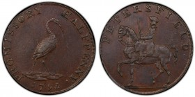 Hampshire, Petersfield copper 1/2 Penny Token AU58 Brown PCGS, D&H-47. PETERSFIELD. Man on horseback left / PROMISSORY HALFPENNY. Stork standing right...