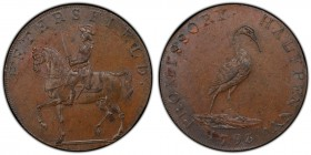 Hampshire, Petersfield copper 1/2 Penny Token 1793 MS63 Brown PCGS, D&H-48a. Edge: Engrailed. PETERSFIELD. Man on horseback left / PROMISSORY HALFPENN...