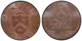 Hampshire, Portsea copper 1/2 Penny Token 1794 MS64 Brown PCGS, D&H-68. Edge: AT GEORGE EDWARD SARGEANTS PORTSEA, the remainder engrailed. Hand holdin...