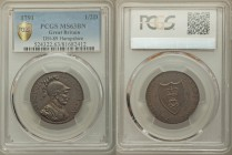 Hampshire, Southampton copper 1/2 Penny Token 1791 MS63 Brown PCGS, D&H-89. Edge: PAYABLE AT THE OFFICE OF W. TAYLOR R. V. MOODY & CO. SR. BEVOIS SOUT...