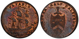 Hampshire, West Cowes copper Farthing Token 1791 MS64 Red and Brown PCGS, D&H-95. PAYABLE. Sailing ship / PORTSEA HALF HALFPENNY. Shield of arms. Incl...