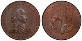 Kent, Dover copper 1/2 Penny Token 1794 MS63 Brown PCGS, D&H-16. Bust facing right, THE . R . HON . W . PITT . LORD WARDEN CINQUE PORTS / Arms of Dove...