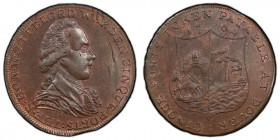 Kent, Dover copper 1/2 Penny Token 1794 MS63 Brown PCGS, D&H-16a. Bust facing right, THE . R . HON . W . PITT . LORD WARDEN CINQUE PORTS / Arms of Dov...