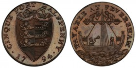 "Kent, Faversham copper 1/2 Penny Token 1794 MS63 Brown PCGS, D&H-20. Edge: ""PAYABLE AT IOHN CROWSS COPPER SMITH X . X"". Shield of arms / Sailing ship...."