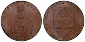 Kent, Hawkhurst copper 1/2 Penny Token 1794 MS65 Brown PCGS, D&H-30. Cypher C.H. below wheatsheaf, HAWKHURST HALFPENNY PAYABLE AT around / The Kentish...