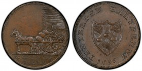 Kent, Tenterden copper 1/2 Penny Token 1796 MS62 Brown PCGS, D&H-42. Edge: PAYABLE AT I & C CLOAKES BREW HOUSE . X X . TO CHEER OUR HEARTS. Horse and ...
