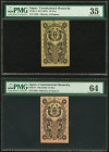 Japan Ministry of Finance 10 Sen; 1/2 Yen ND (1872) Pick 1; 3 PMG Choice Uncirculated 64; Choice Very Fine 35. A pretty pair of vertical banknotes, ea...